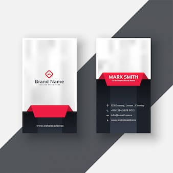 Professional vertical business card in red black color