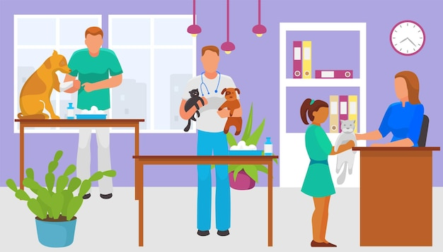Professional veterinarian doctor character hold home pet kitty and puppy vet medical clinic help dom...