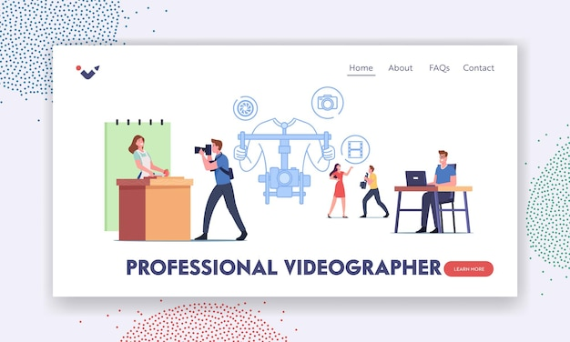 Professional videographer landing page template. television crew characters recording culinary program on video camera. woman chef cooking dish on fake kitchen. cartoon people vector illustration