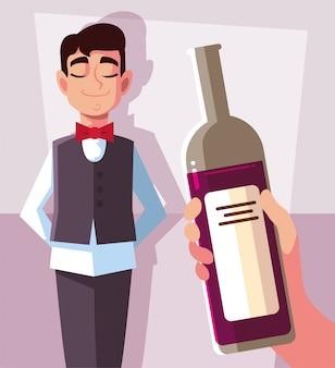 Professional waiter holding bottle of wine