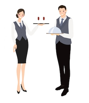 Professional waiter and waitress flat style collection