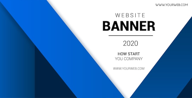 Professional website banner with blue shapes