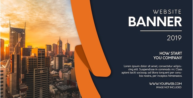 Professional website banner with orange shapes