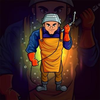 The professional welder esport mascot design of illustration