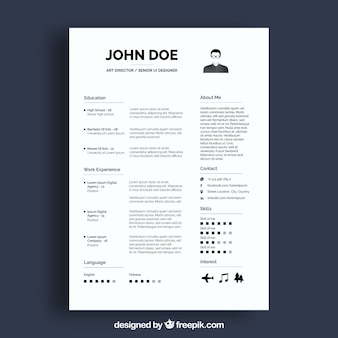 Professional white resume template