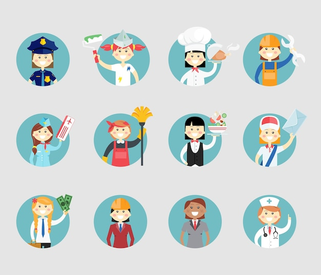 Professional women avatar set on round web buttons a police sergeant  painter  chef  mechanic  air hostess  cleaner  waitress  postal worker  businesswoman  architect and doctor