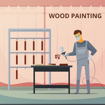 Professional woodwork painter spraying acrylic paint over wood furniture parts