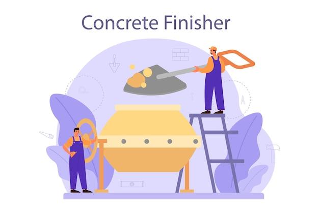 도구와 시멘트 콘크리트를 준비하는 전문 작업자