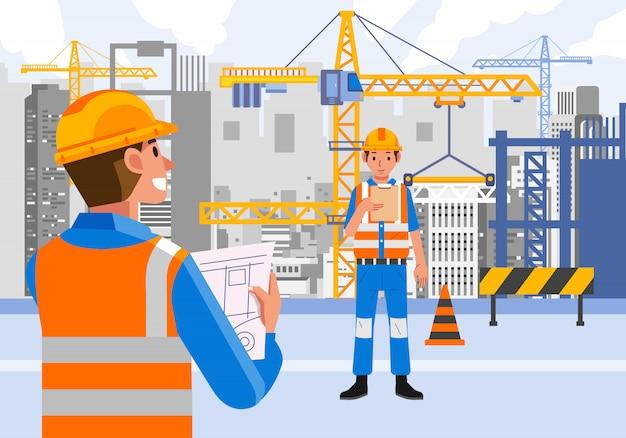 安全装置を身に着けている建設現場で働く専門職
