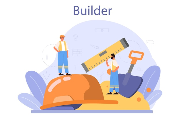 Professional workers constructing home with tools and materials