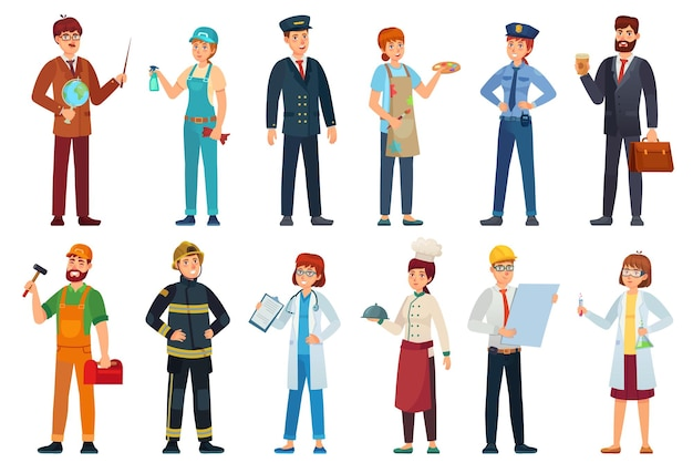 Профессиональные рабочие. различные рабочие места профессионалов, рабочих и рабочих мультфильм иллюстрации набор. Premium векторы