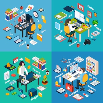 Professional workplace isometric icons square