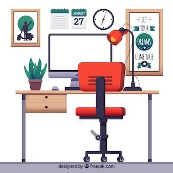 Профессиональное рабочее пространство с плоским дизайном