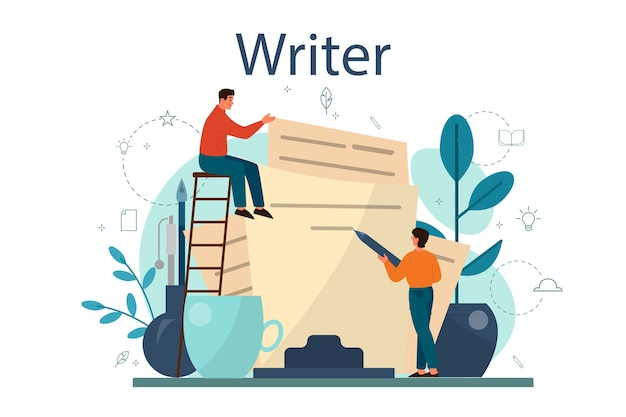 Professional writer or journalist concept illustration