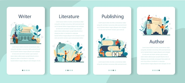 Professional writer, literature mobile application banner set. idea of creative people and profession. author writing script of a novel.