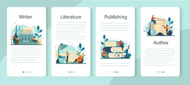 プロの作家、文学モバイルアプリケーションのバナーセット。創造的な人々と職業のアイデア。小説の脚本を書く作者。