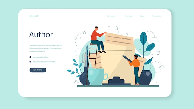 Professional writer, literature web landing page. idea of creative people and profession. author writing script of a novel. isolated vector illustration in flat style