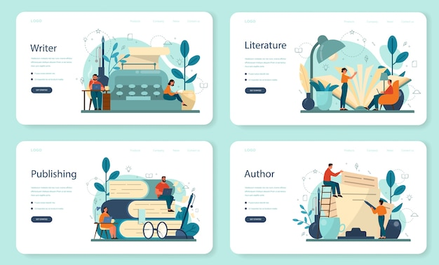 Professional writer, literature web landing page set.