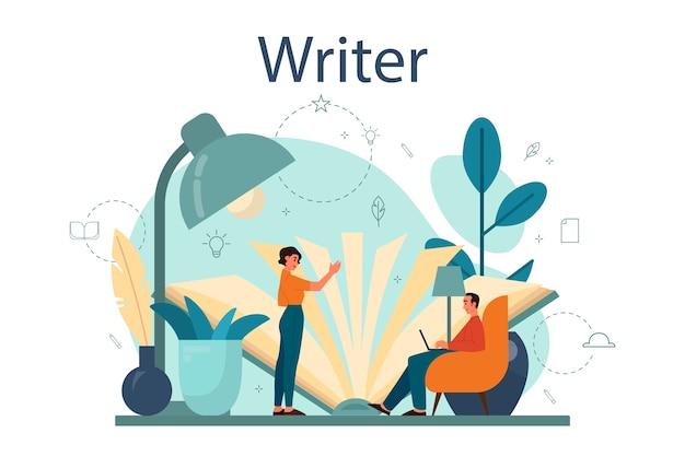 プロの作家やジャーナリストのコンセプトイラスト。創造的な人々と職業のアイデア。小説の脚本を書く作者。フラットスタイルの孤立したベクトル図