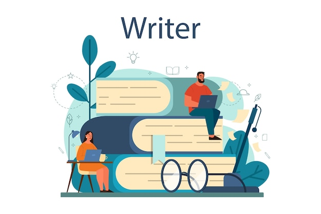 Профессиональный писатель или журналист концепция иллюстрации
