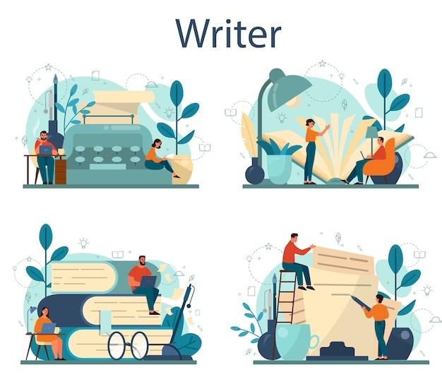 プロの作家またはジャーナリストのコンセプトセット。創造的な人々と職業のアイデア。小説の脚本を書く作者。