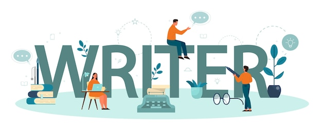 전문 작가 인쇄용 헤더 개념. 창의적인 사람과 직업에 대한 아이디어. 소설의 대본을 쓰는 작가.
