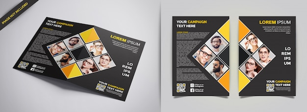 Professional yellow and black business brochure