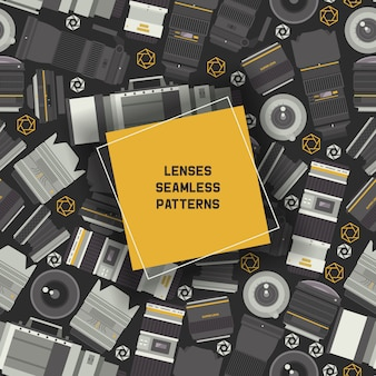 Professional zoom photo lenses and supplies for camera seamless patterns
