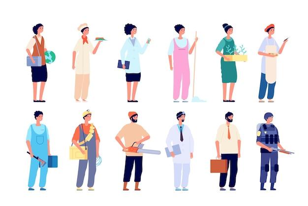 プロのキャラクター。さまざまな従業員、労働者のグループ。孤立した人々は、制服を着た、ソーシャルワーカーのヘルスケアマネージャーのベクトルを着用します。キャラクターワーカーとマネージャー、別の職業イラスト