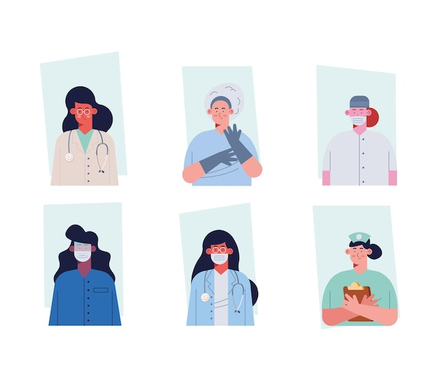 Professionals female doctors staff characters
