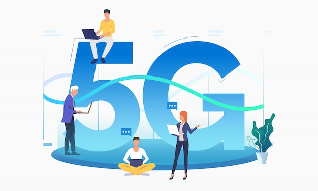 Professionals using high speed 5g network