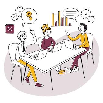 会議室でプロジェクトについて議論するラップトップを持つ専門家