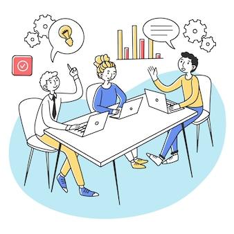 회의실에서 프로젝트를 논의하는 노트북 전문가