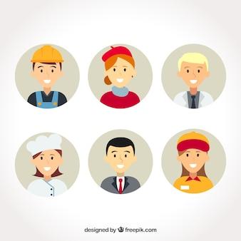 Professioni avatars con volti felici