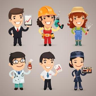Professions cartoon characters set