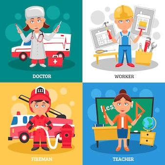 Professions character design concept. doctor, worker, fireman, teacher