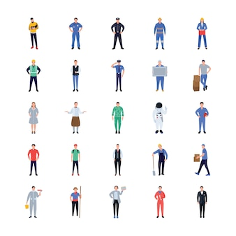 Professions flat icons design