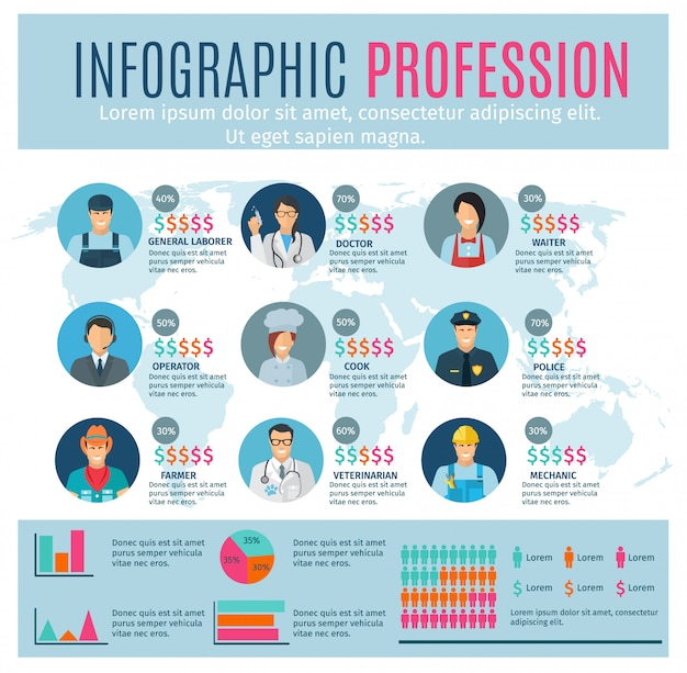 Professions infographics set with charts and world map on background