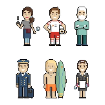Professions pixel art on white background 2. vector illustration