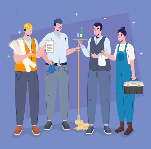 Professions workers four characters