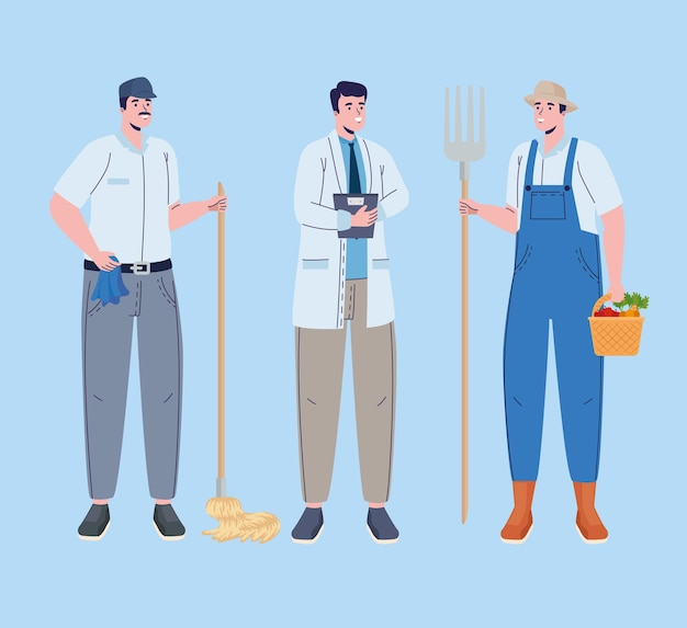 Professions workers three characters