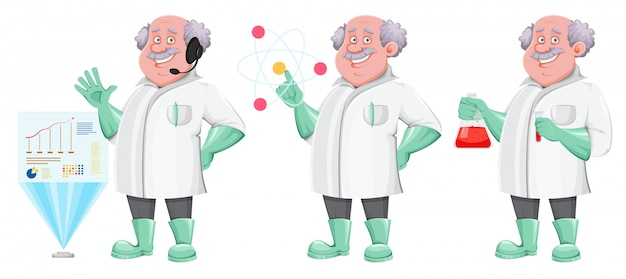 Профессор мультипликационный персонаж, набор из трех поз