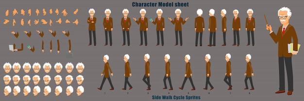 걷기주기 애니메이션 시퀀스가있는 교수 캐릭터 모델 시트