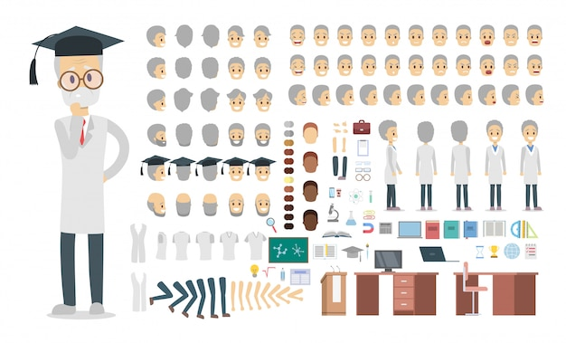 다양한보기, 헤어 스타일, 감정, 포즈 및 제스처와 애니메이션을위한 유니폼 세트 또는 키트 교수 남성 캐릭터.