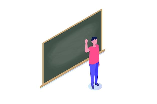 空白の学校の黒板の近くに立っている教授または教師