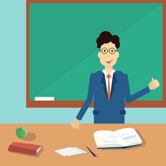 Professor Point Hand To Green School Clack Board