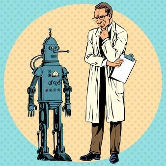 Профессор ученый и робот. создатель гаджета в стиле ретро