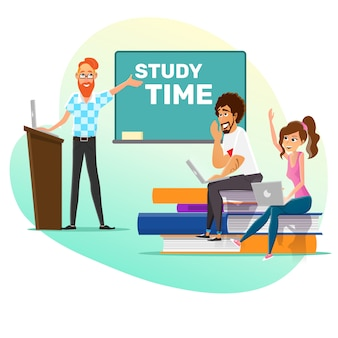 Professor and smart students study time poster