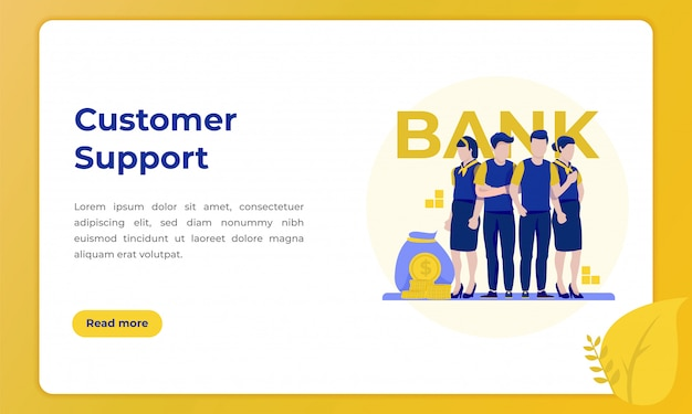 Profile of customer support, illustration for landing page with the theme of the banking industry