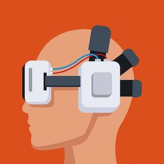 Profile head with headset virtual reality